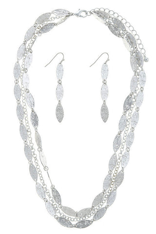 marquise linked set in silver