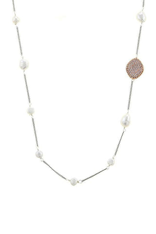 pave pearl link necklace