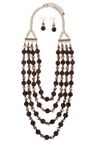 long shell accented beaded set