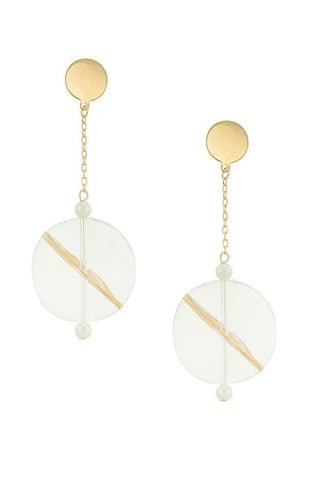 lucite & gold disc drops
