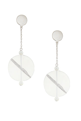 lucite & silver disc drops