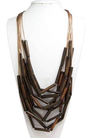 silk bamboo layered necklace