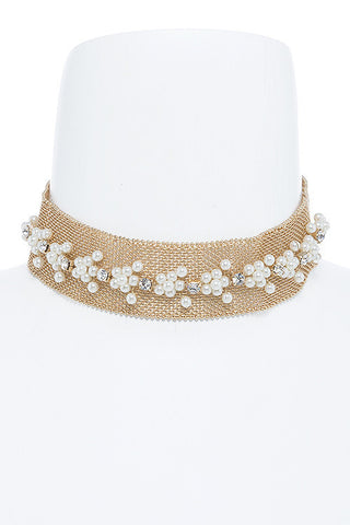woven in gold & pearl choker
