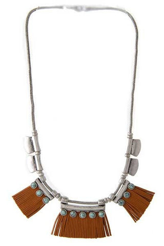 providence leather & turquoise necklace