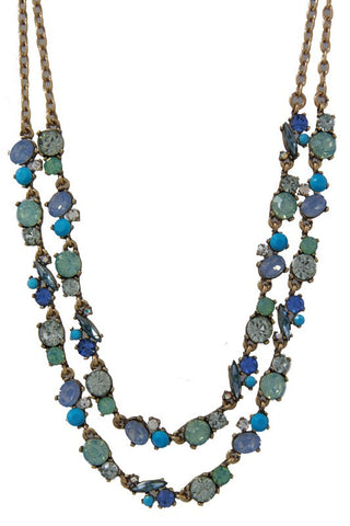 blue sweetheart double row necklace