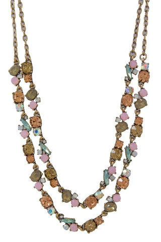 pink sweetheart double row necklace