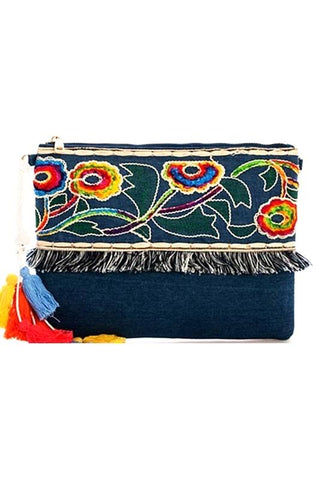 malibu denim clutch