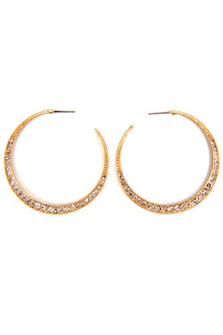 pave splashed hoops in gold