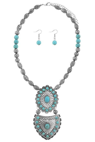 antique etched concho in turquoise
