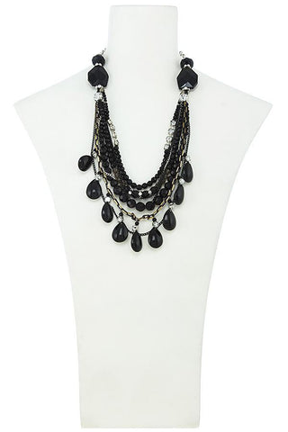 black teardrop jeweled set