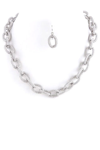 textured oval link in silver