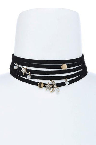 celestial star and moon choker