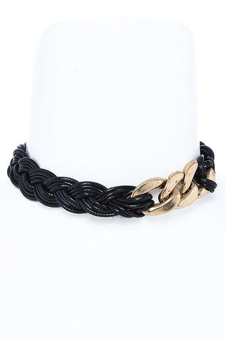 high polished gold chain choker