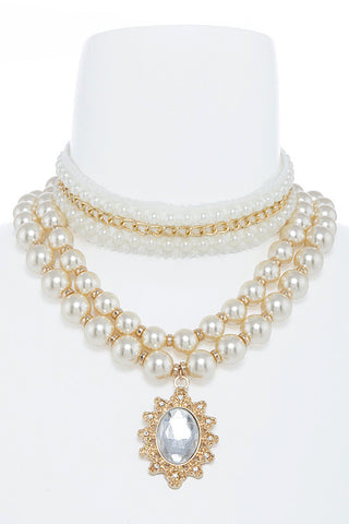 victorian pearl necklace set