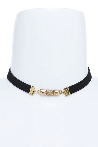 crystal accent lined choker
