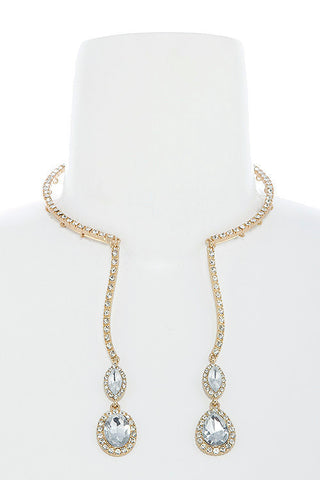 crystal lined drop choker