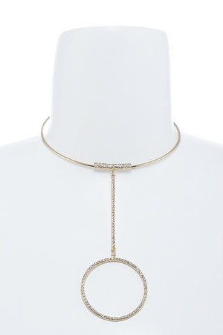 crystal lined ring choker