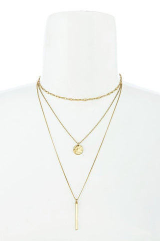 disc bar choker in gold