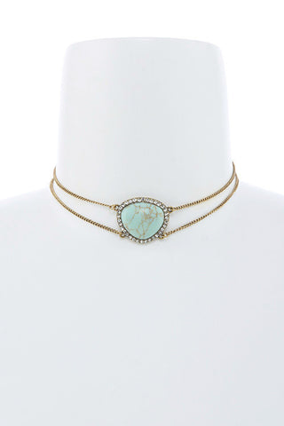 turquoise stone choker in gold
