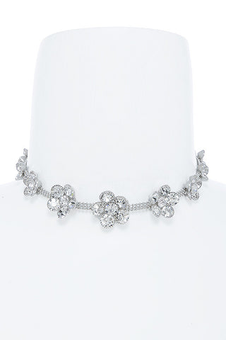 dainty floral crystal choker