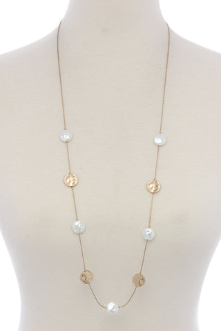 hammered gold and pearl necklace