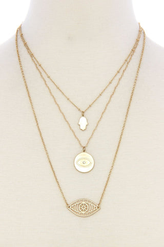 eye hamsa layered necklace