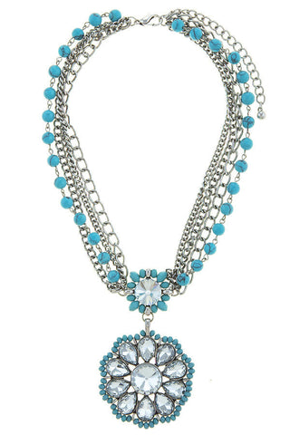 floral statement necklace in turquoise