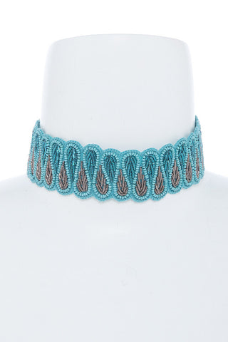 stitched in teal beaded choker