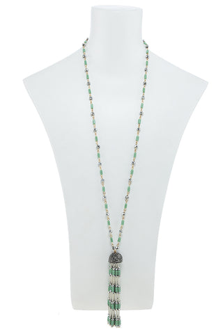 long vintage jade bead drop