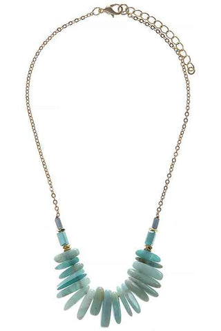 mixed semi precious necklace in mint
