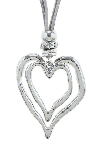high polished silver heart pendant