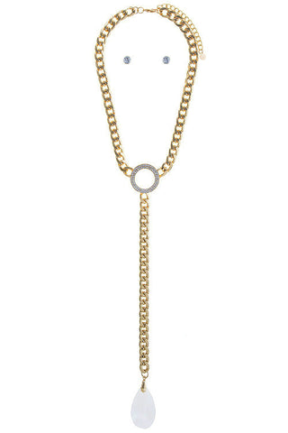 pave crystal drop in gold