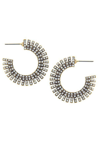 antique pave rhinestone hoops