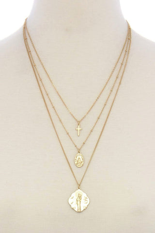 gold cross layered necklace