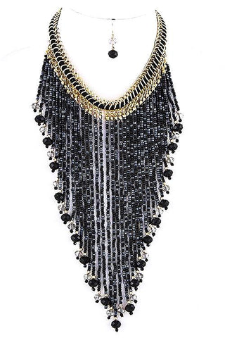 golden seed bead fringe in black