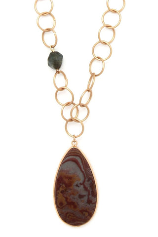 natural stone long linked pendant