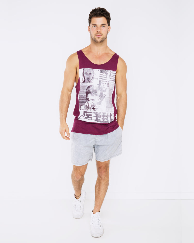 Comes and Goes Maroon Singlet