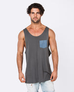 Rip My Pocket Dark Grey Singlet