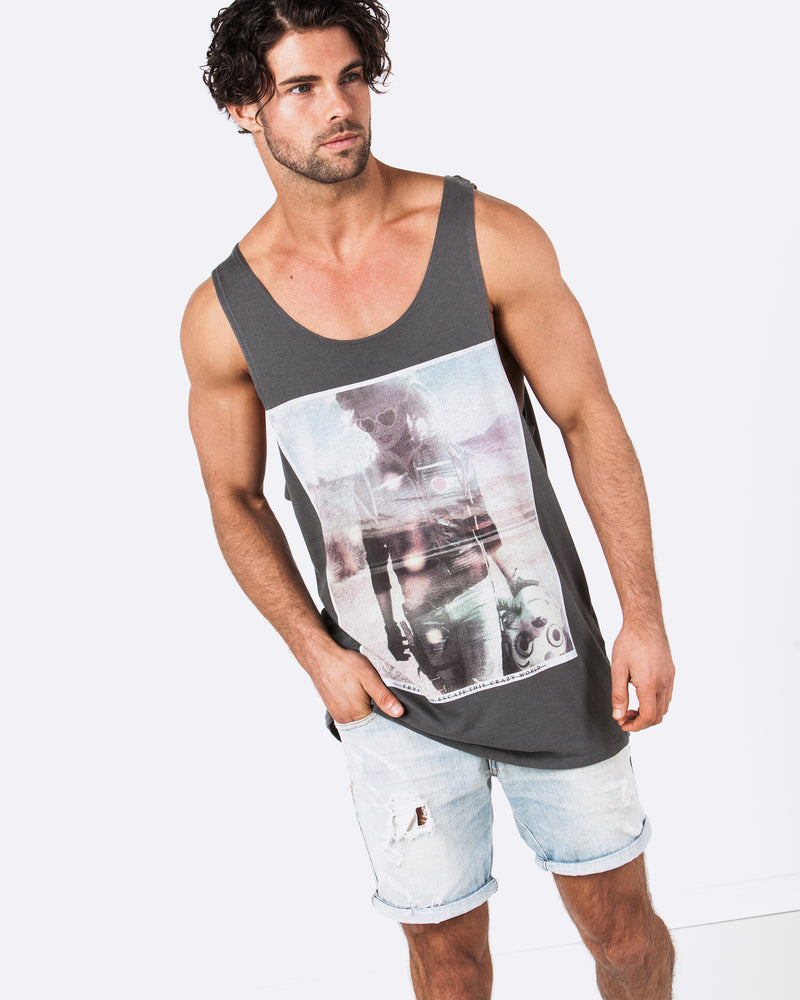 Not From Here Dark Grey Singlet