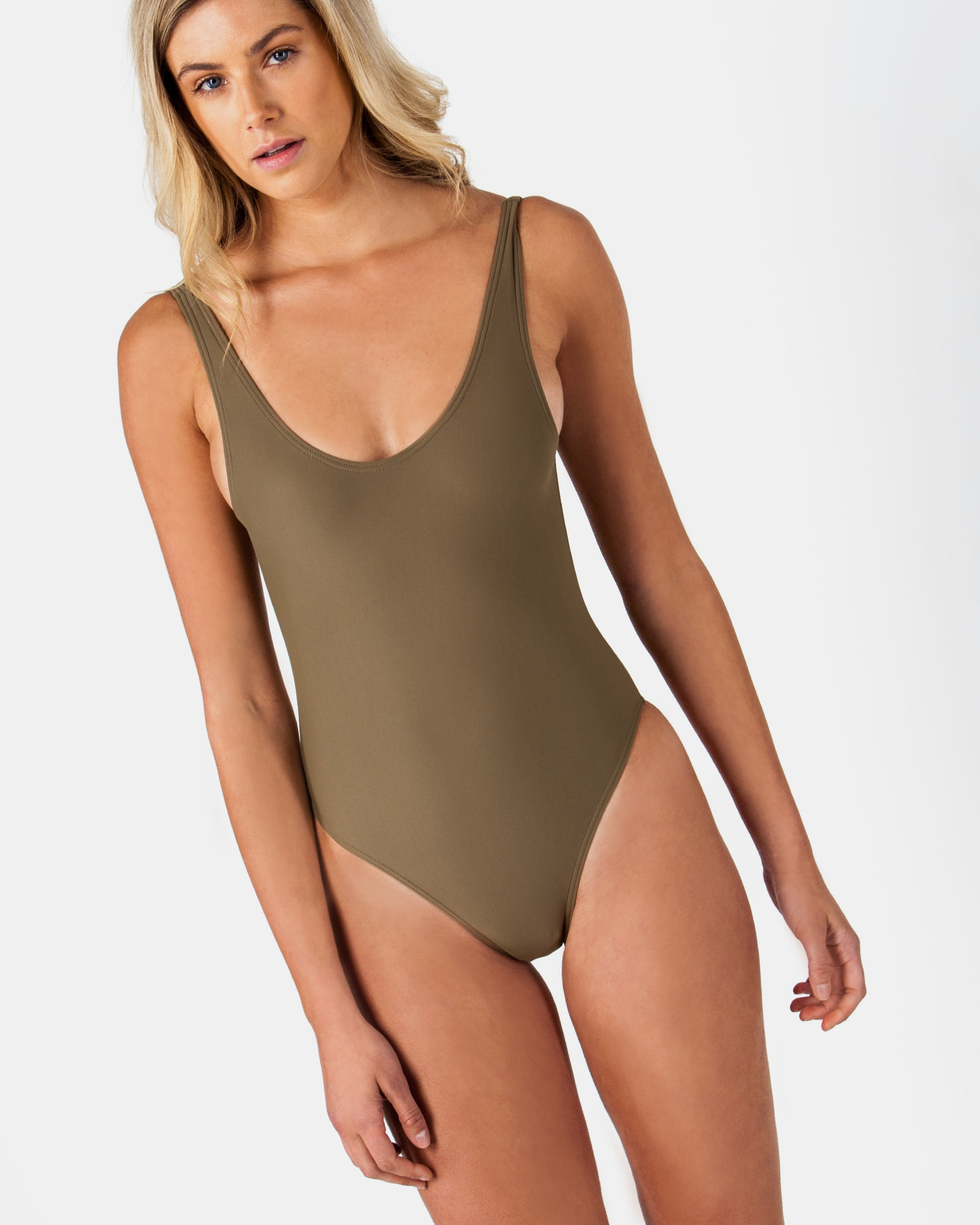 d6b93b9391 Blank Khaki Swimsuit – ONEBYONE Clothing Co.