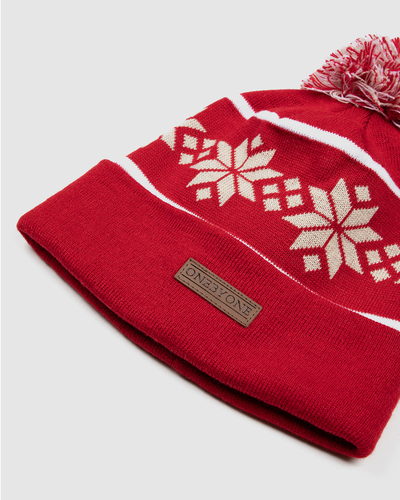 Snow Rose Red Beanie
