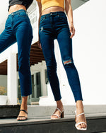 A High Skinny Ankle Cut Jeans – Raven in Blue Denim