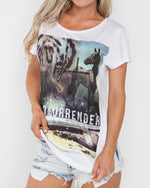 No Surrender White Tee