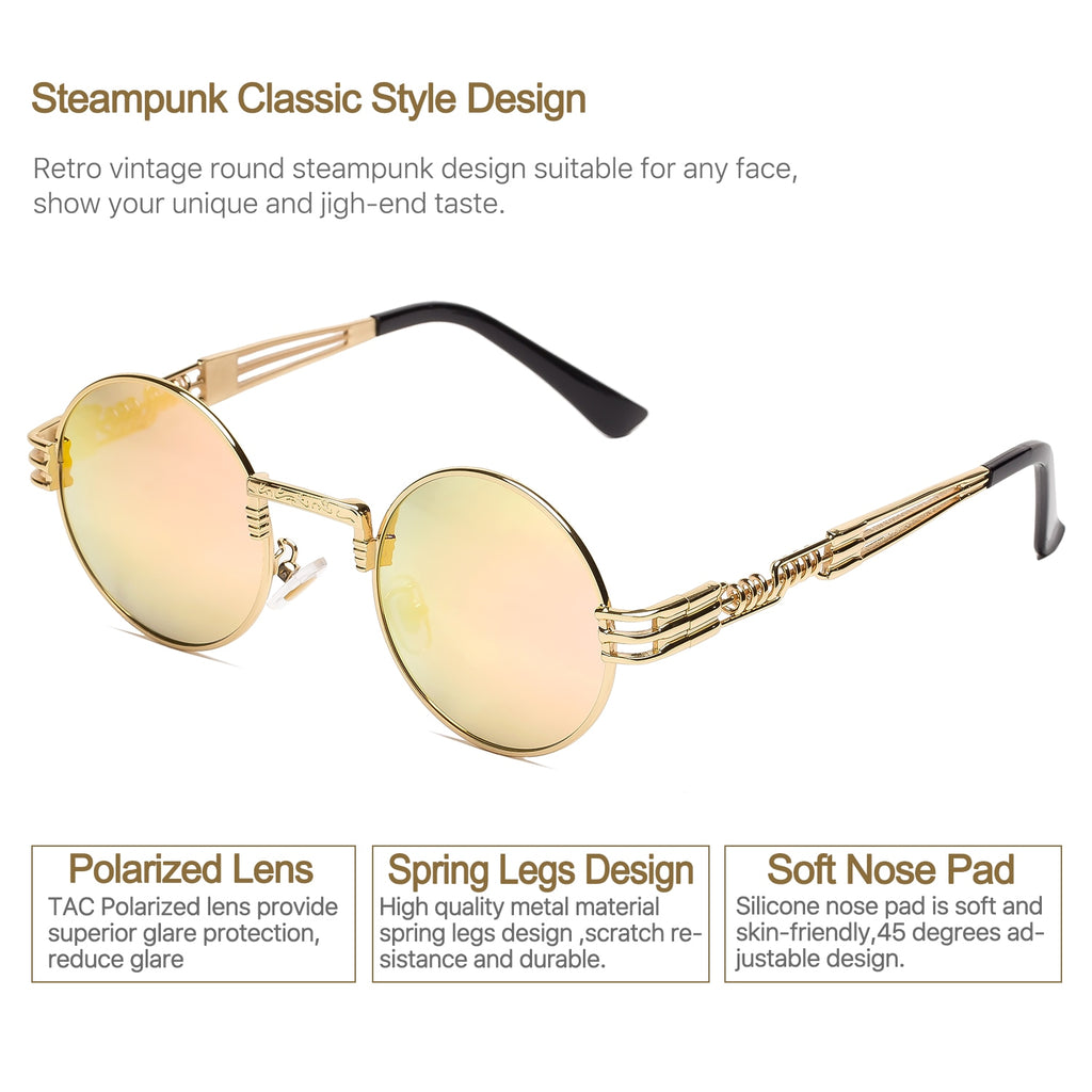 da46749345f Steampunk Round Polarized Sunglasses Retro Vintage Circle Spring Style Frame  Metal Hippie Sun Glasses for Men
