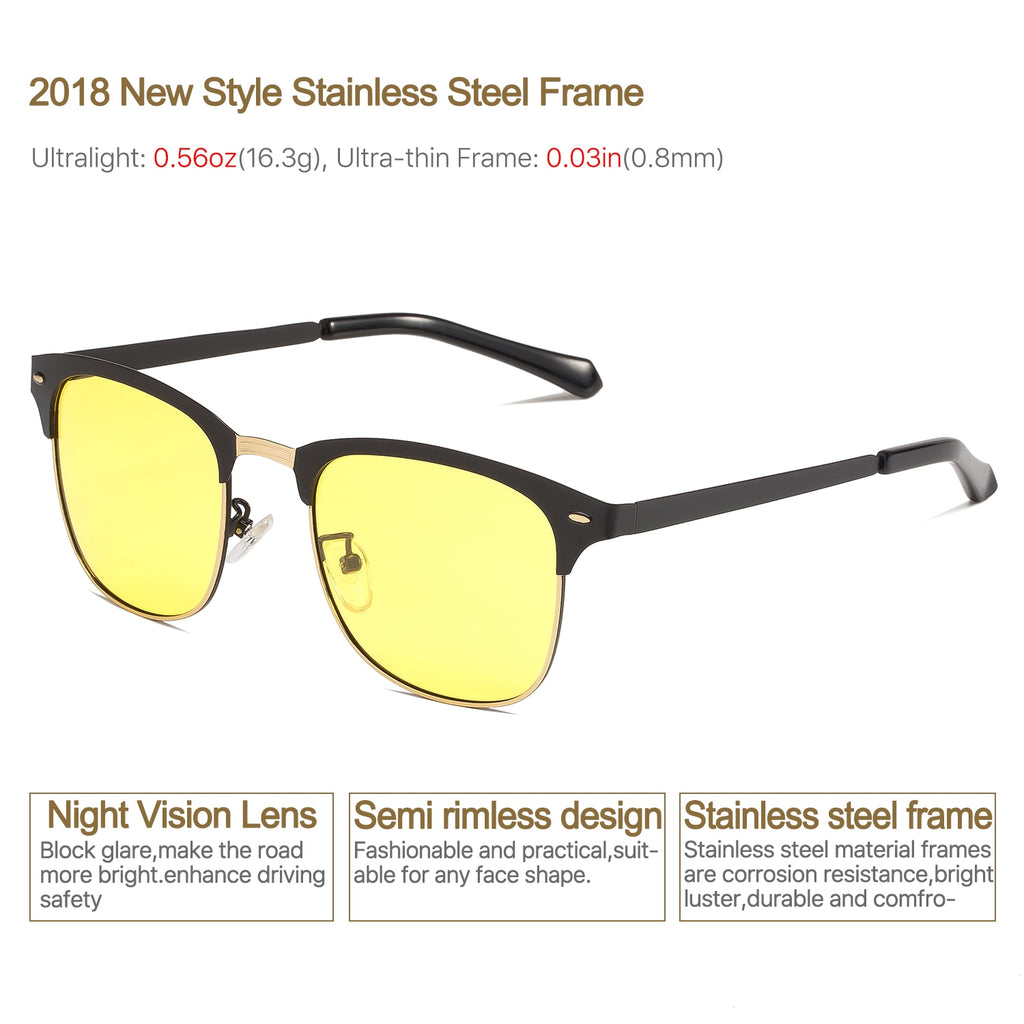 1fa980451b NIEEPA Semi Rimless Polarized Sunglasses Classic Brand Sun Glasses Retro  Ultra Light Stainless steel Frame With