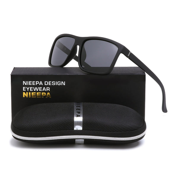 603872b586 NIEEPA Men s Driving Sports Polarized Sunglasses Square Wayfarer Plastic Frame  Glasses