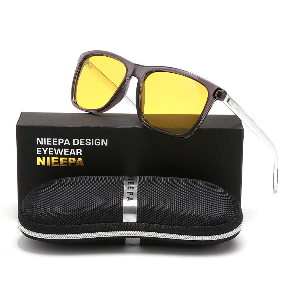6153f8eccf NIEEPA Square Polarized Night Vision Sunglasses Aluminum Magnesium Temple  Retro Driving Sun Glasses