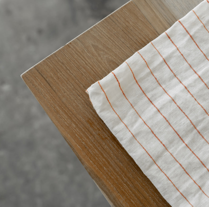Red Stripe Linen Tablecloth