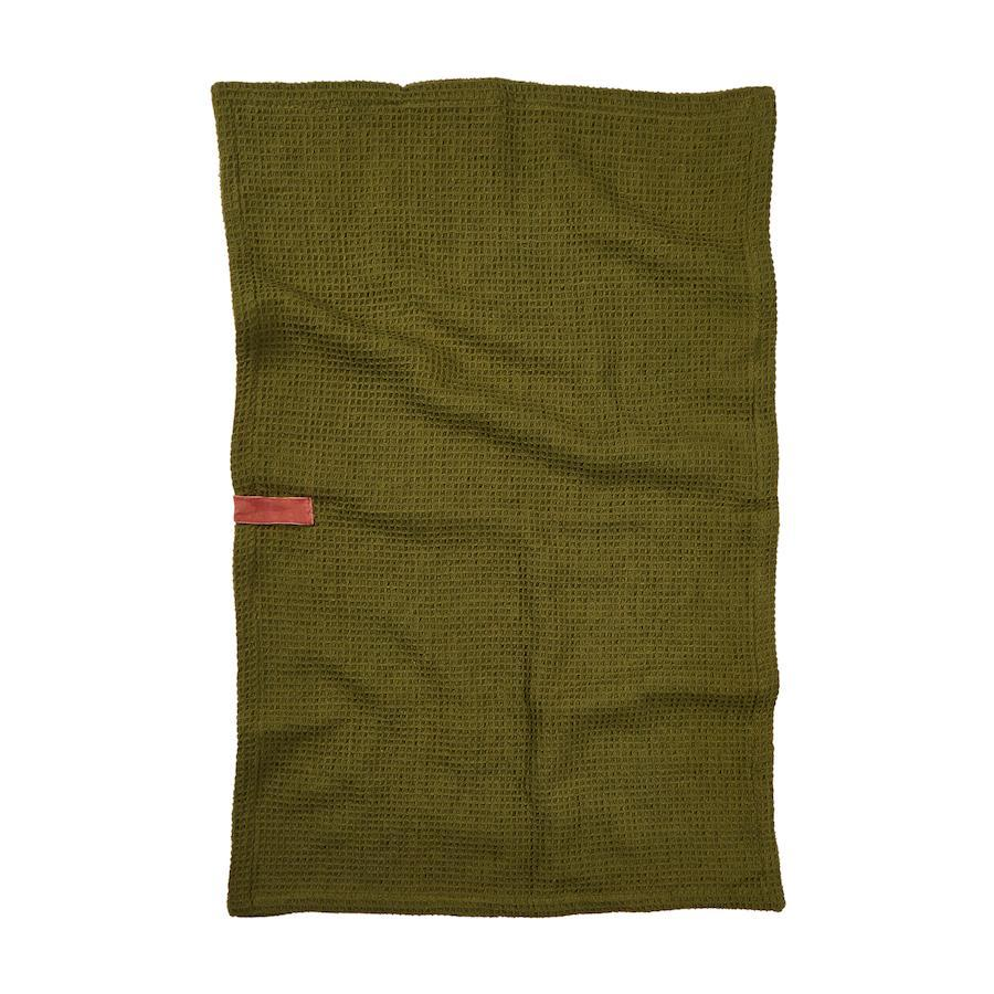 sage and clare - ananda tea towel in moss