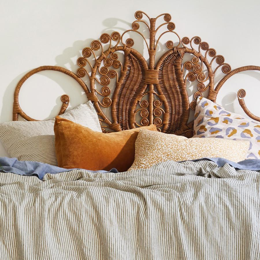 sage and clare - bedari velvet pillowcase in ochre